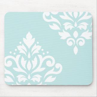 Scroll Damask Art I White on Duck Egg Blue Mouse Pad