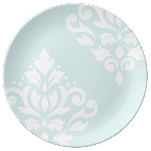 Scroll Damask Art I White on Duck Egg Blue Plate