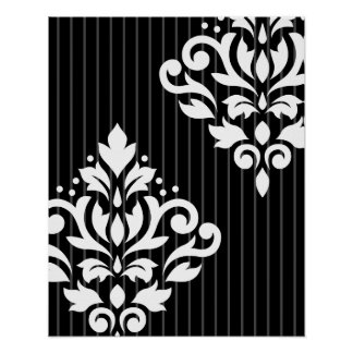 Scroll Damask Art I White on Gray Stripes & Black Poster