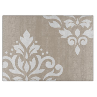 Scroll Damask Art I White on Light Taupe Cutting Board