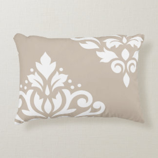 Scroll Damask Art I White on Light Taupe Decorative Pillow