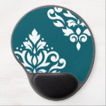 "Scroll Damask Art I White on Teal Gel Mouse Pad<br><div class=""desc"">Scroll and leaf damask with white detail on a teal background in a modern style art print.</div>"