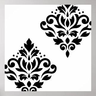 Scroll Damask Art Ib Black on White Poster
