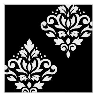 Scroll Damask Art Ib White on Black Poster