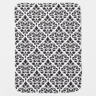 Scroll Damask Big Pattern Black on White Swaddle Blanket
