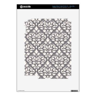 Scroll Damask Big Pattern Cream on Grey Decals For iPad 3
