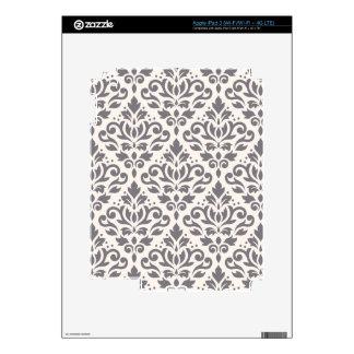 Scroll Damask Big Pattern Grey on Cream iPad 3 Skins