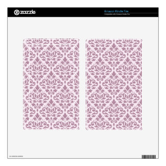 Scroll Damask Big Pattern Mauve on Pink Skins For Kindle Fire