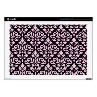 Scroll Damask Big Pattern Pink on Black Laptop Decal
