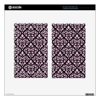 Scroll Damask Big Pattern Pink on Black Skins For Kindle Fire