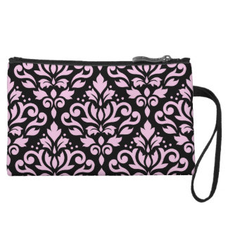 Scroll Damask Big Pattern Pink on Black Wristlet Wallet