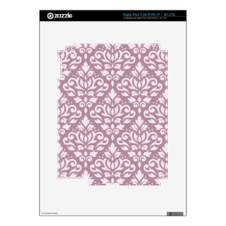 Scroll Damask Big Pattern Pink on Mauve Decal For iPad 3