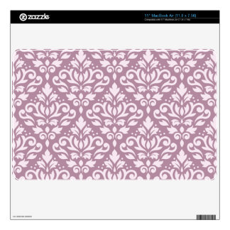 Scroll Damask Big Pattern Pink on Mauve Skins For MacBook
