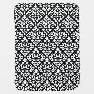 Scroll Damask Big Pattern White on Black Stroller Blanket