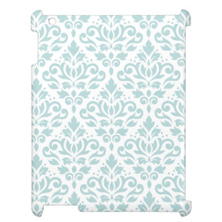 Scroll Damask Big Ptn Duck Egg Blue (B) on White Cover For The iPad