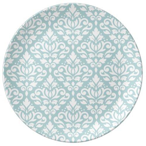 Scroll Damask Big Ptn White on Duck Egg Blue (B) Porcelain Plate