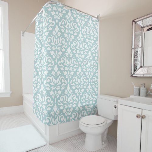 Scroll Damask Big Ptn White on Duck Egg Blue (B) Shower Curtain