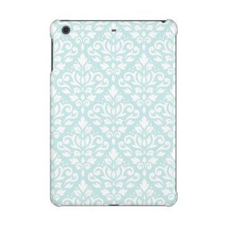 Scroll Damask Big Ptn White on Duck Egg Blue iPad Mini Covers