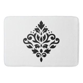 Scroll Damask Design Black Bath Mat