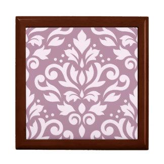 Scroll Damask Design Pink on Mauve Jewelry Box