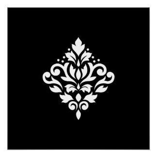 Scroll Damask Design White on Black Poster