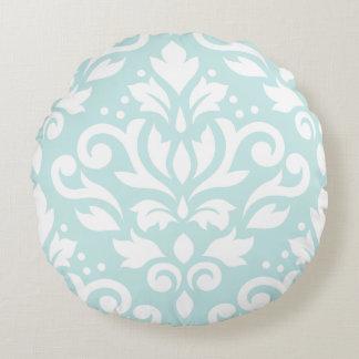Scroll Damask Design White on Duck Egg Blue Round Pillow