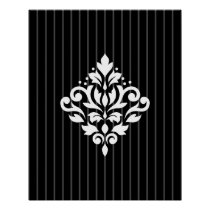 Scroll Damask Design White on Gray Stripes & Black Poster