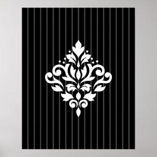 Scroll Damask Design White on Gray Stripes & Black Poster