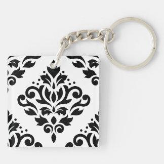 Scroll Damask Large Design (B) Black on White Keychain