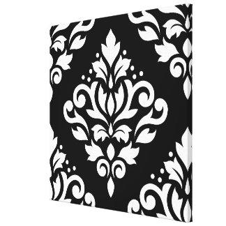 Scroll Damask Large Design (B) White on Black Canvas Print