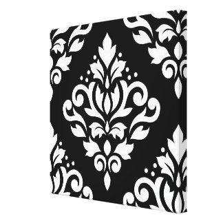Scroll Damask Large Design (B) White on Black Canvas Print
