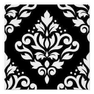 Scroll Damask Large Design (B) White on Black Poster