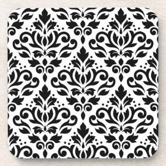 Scroll Damask Large Design Black on White Coaster