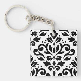 Scroll Damask Large Design Black on White Keychain