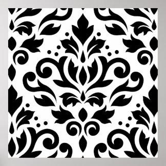 Scroll Damask Large Design Black on White Poster