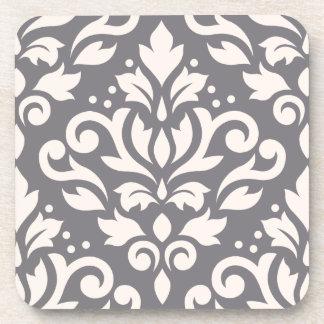 Scroll Damask Large Design Cream on Grey Drink Coaster