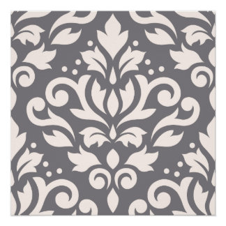Scroll Damask Large Design Cream on Grey Poster