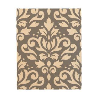 Scroll Damask Large Design Cream on Grey Wood Wall Art