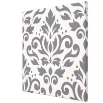 Scroll Damask Large Design Grey on Cream Canvas Print