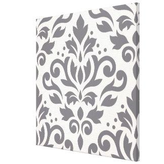 Scroll Damask Large Design Grey on Cream Canvas Print