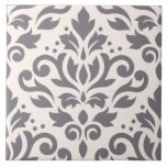 """Scroll Damask Large Design Grey on Cream Ceramic Tile<br><div class=""""desc"""">Scroll and leaf damask in a vintage style large pattern,  with grey detail on a cream color background.</div>"""