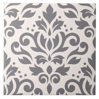 Scroll Damask Large Design Grey on Cream Ceramic Tile