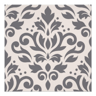 Scroll Damask Large Design Grey on Cream Poster