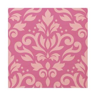 Scroll Damask Large Design Light on Dark Pink Wood Wall Decor