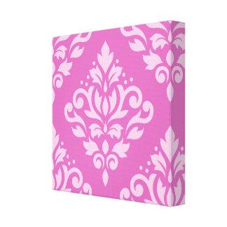 Scroll Damask Large Design Lt on Dk Pink Canvas Print