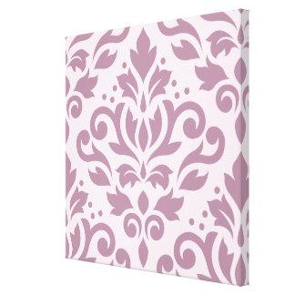 Scroll Damask Large Design Mauve on Pink Canvas Print