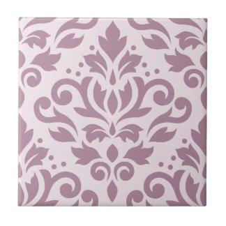 Scroll Damask Large Design Mauve on Pink Tile