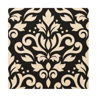 Scroll Damask Large Design on Black Wood Wall Art