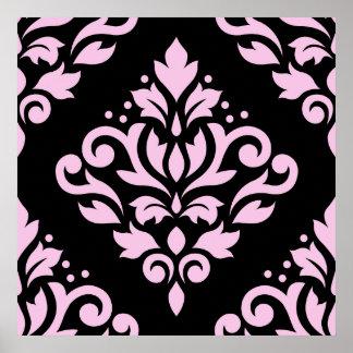Scroll Damask Large Design Pink on Black Poster