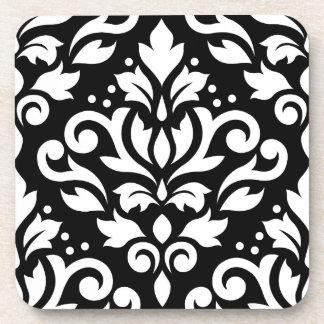 Scroll Damask Large Design White on Black Drink Coaster